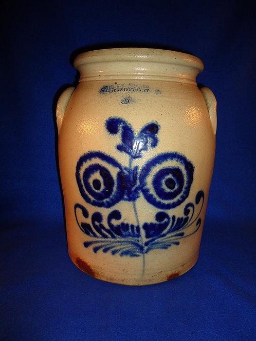 J. & E. Norton, Bennington, Vermont Stoneware 3g Jar with Huge Floral