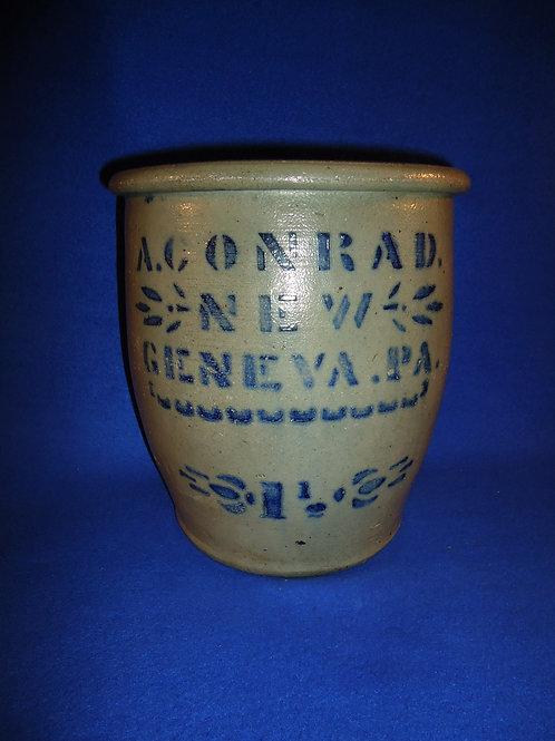 A. Conrad, New Geneva, Pennsylvania Stoneware 1 1/2g Cream Pot #5624