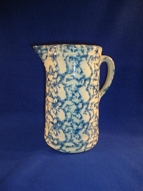 "Circa 1900 9"" Blue and White Spongeware Stoneware Pitcher with Sharp Pattern"