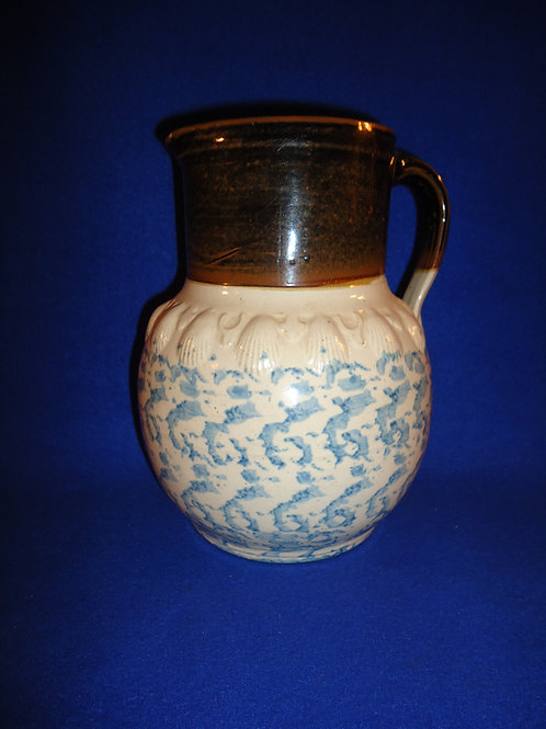 Uncommon Blue and White Spongeware Pitcher with Embossed Shells #4652