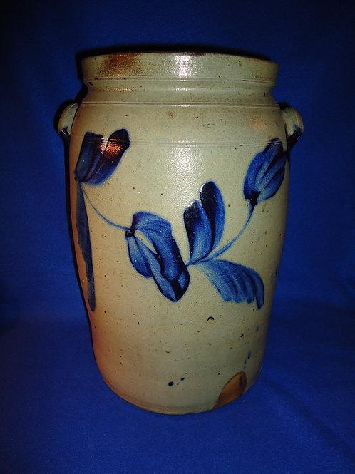 4 Gallon Stoneware Jar with Large Tulips, att. Remmey of Philadelphia