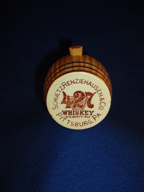 427 Whiskey, Pittsburg, Pennsylvania Stoneware Mini Barrel