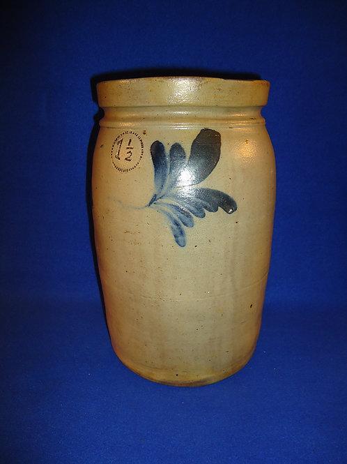 1 1/2 Gallon Stoneware Jar with Cobalt Leaves, att. Remmey of Philadelphia