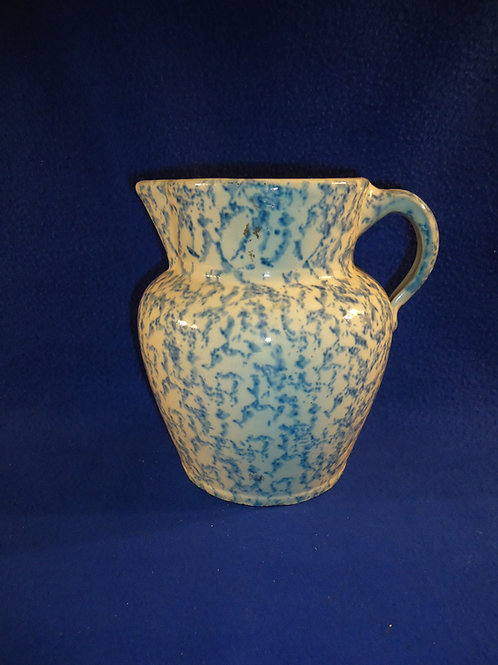 Late 19th Century Blue and White Spongeware Stoneware Pitcher, Unusual Form
