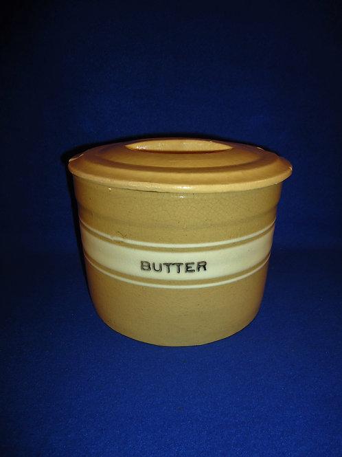 Yellow Ware Butter Crock, Dandy Line, Brush McCoy, #4845