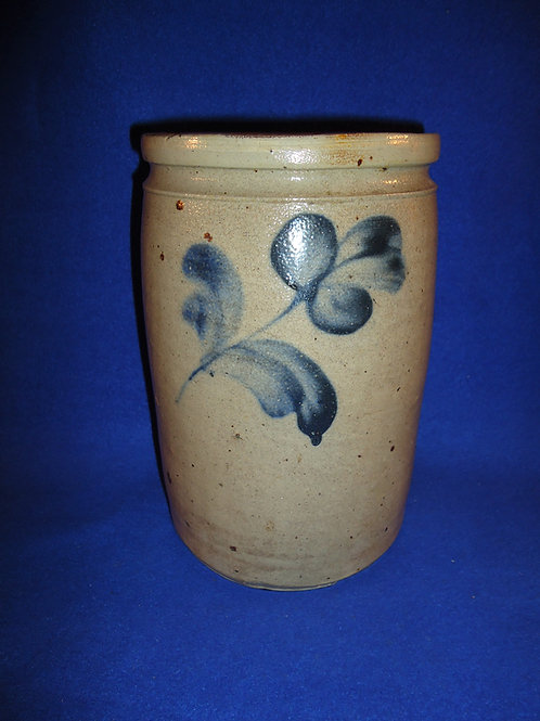 Circa 1870 Stoneware Jar with Cobalt Florals from Baltimore, Maryland