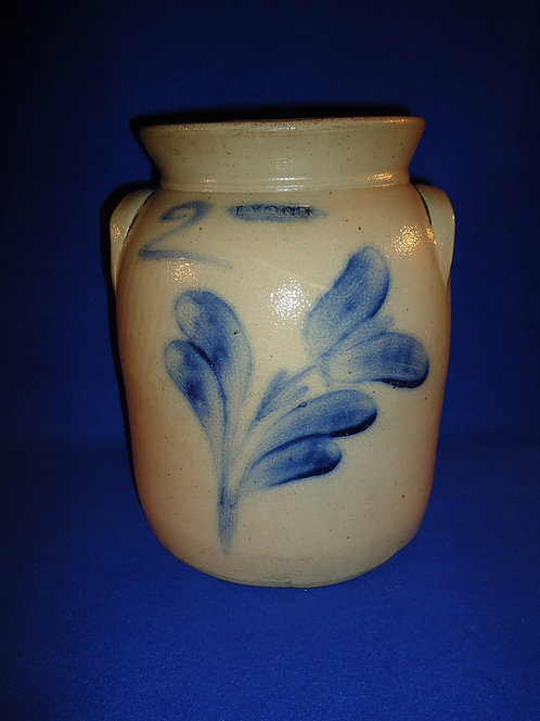 Lyons, New York Stoneware 2 Gallon Preserve Jar with Tulip, att. Jacob Fisher