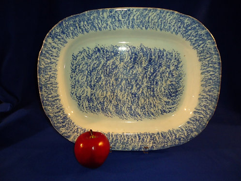 """Large 17 1/2"""" Blue and White Spatterware Staffordshire Platter"""