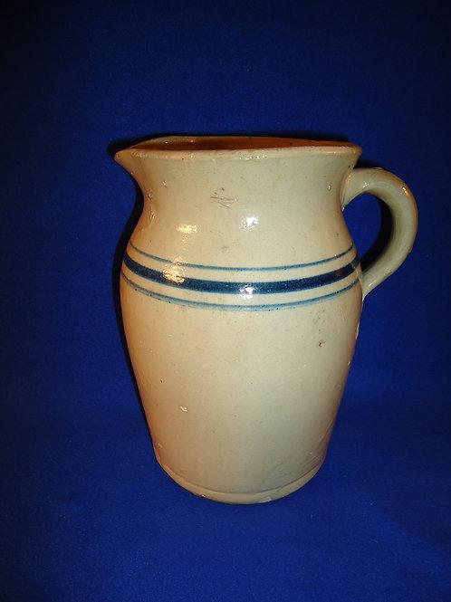 Circa 1890 to 1910 Blue and White Stoneware Striped 1 Gallon Pitcher