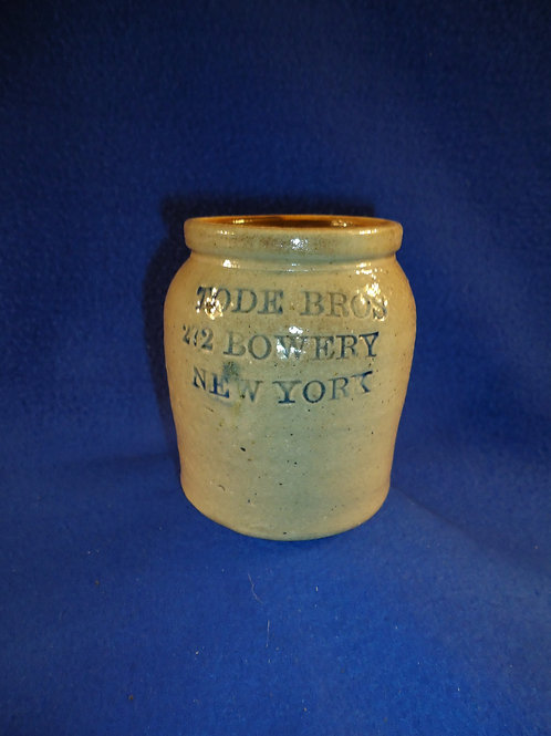 "Tode Bros., 272 Bowery, New York Stoneware 4"" Oyster Jar"