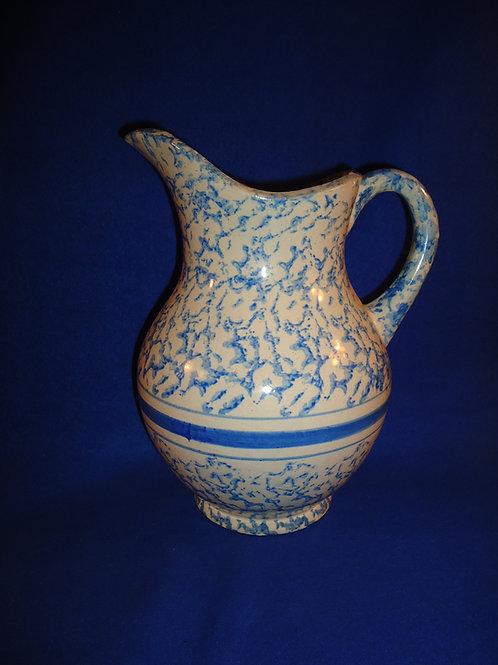 Blue and White Spongeware Stoneware Striped Wash Pitcher #5003