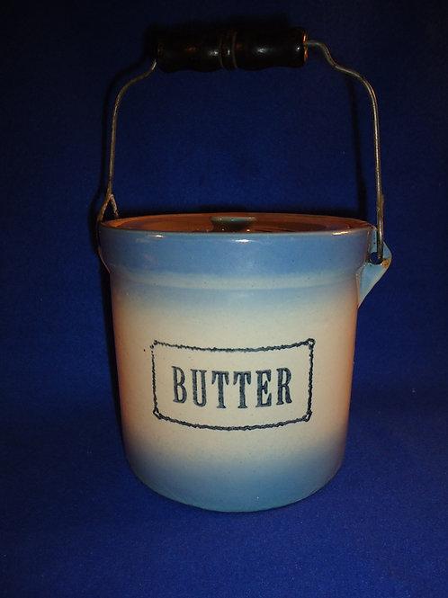 Blue and White Stoneware Butter Crock, Western Stoneware, Monmouth, Illinois