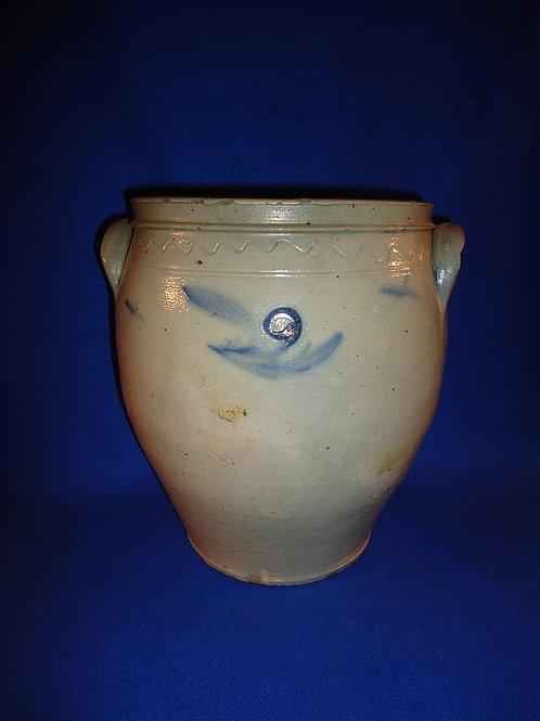 2 Gallon Stoneware Ovoid Jar, att. William Nichols, Poughkeepsie, New York