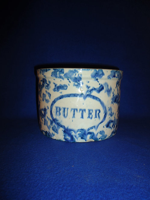 Blue and White Spongeware Stoneware Butter Crock, Oval Label #5503