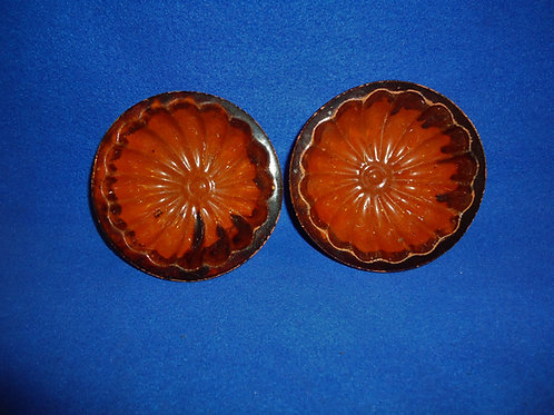 Pair of 19th Century Matching Redware Jelly Molds from Pennsylvania #4521