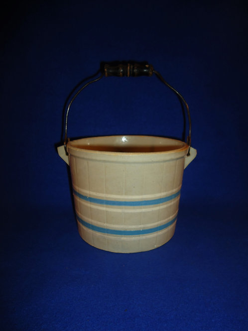 Blue and Gray Striped Stoneware Egg Bucket with Handles, #4740