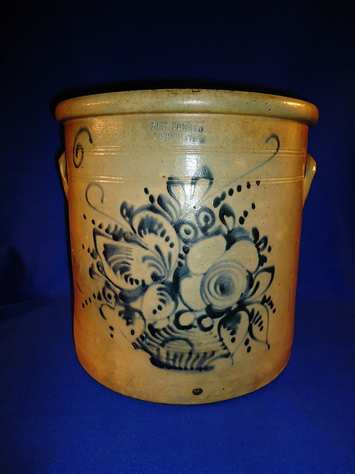 Fort Edward Pottery, New York Stoneware 6 Gallon Crock with Basket of Flowers