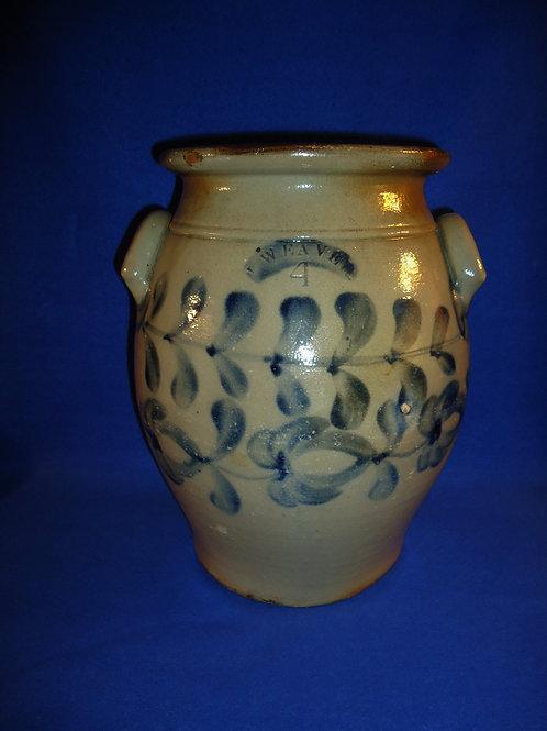 John Weaver, Beaver, Pennsylvania Stoneware 4 Gallon Ovoid Jar, Tulips #4839