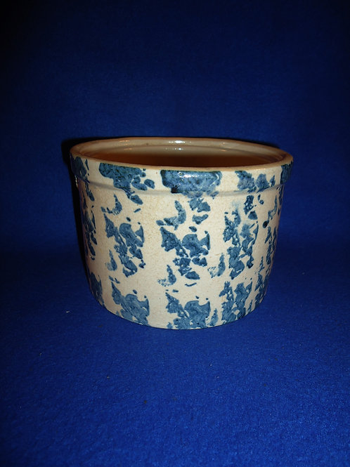 Blue and White Spongeware Stoneware Uhl Butter Crock #5547
