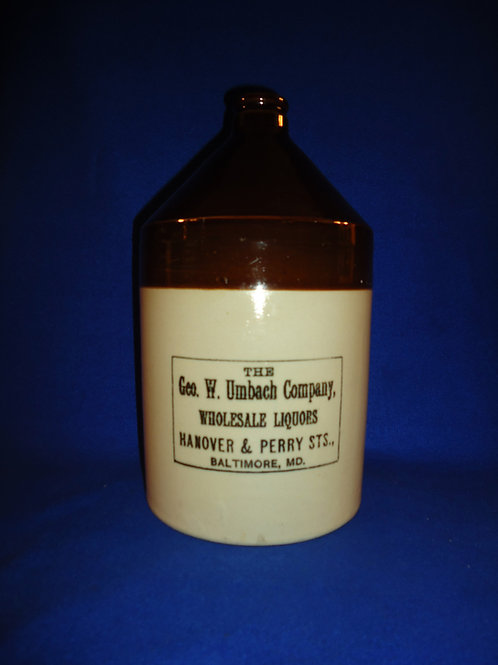 George Umbach, Liquor Dealer, Baltimore, Maryland Stoneware 1 Gallon Jug