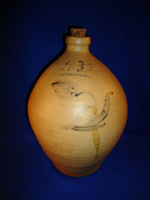 Rare Eaton and Stout, South River, New Jersey Stoneware Ovoid Jug 1833