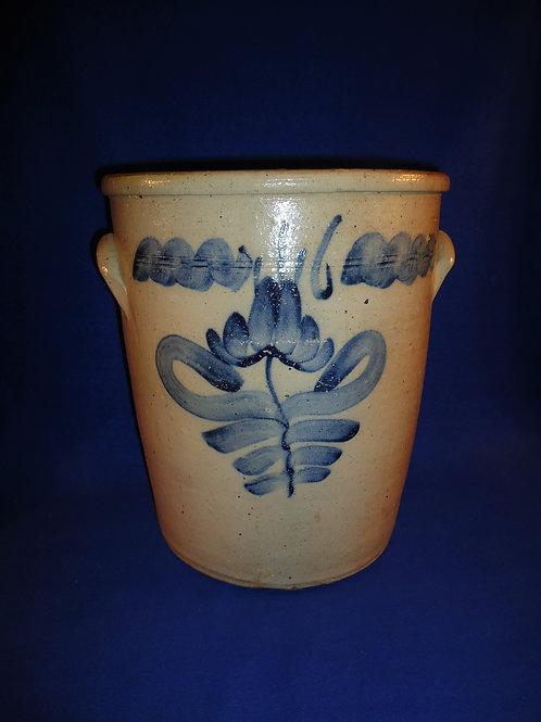 Monumental 6 Gallon Stoneware Cream Pot, Huge Tulip, Ohio #5020