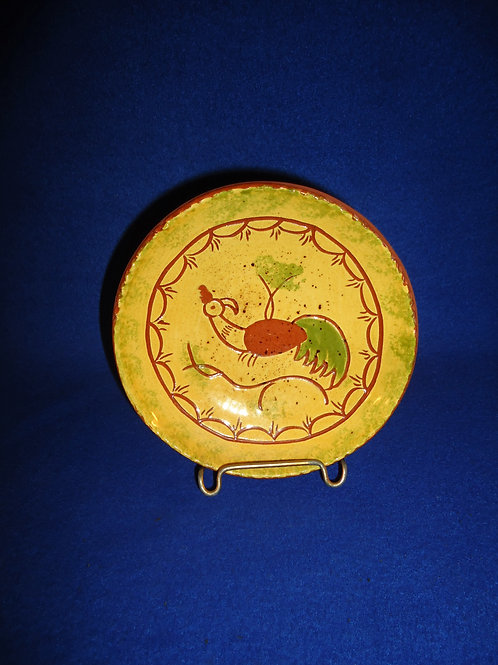 Lester & Barbara Breininger, Robesonia, PA Redware Plate with Peacock #5799