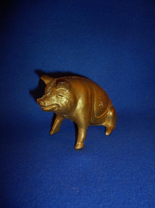Cast Iron Still Bank, Seated Pig #5537