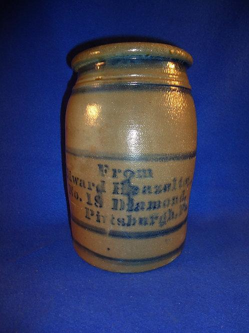 Edward Heazelton, Pittsburgh, Pennsylvania Stoneware Striper Jar