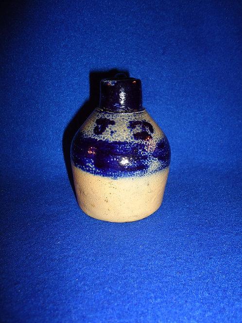 """Rare Miniature Stoneware Jug Initialed """"J. T."""", att. Whites of Utica"""