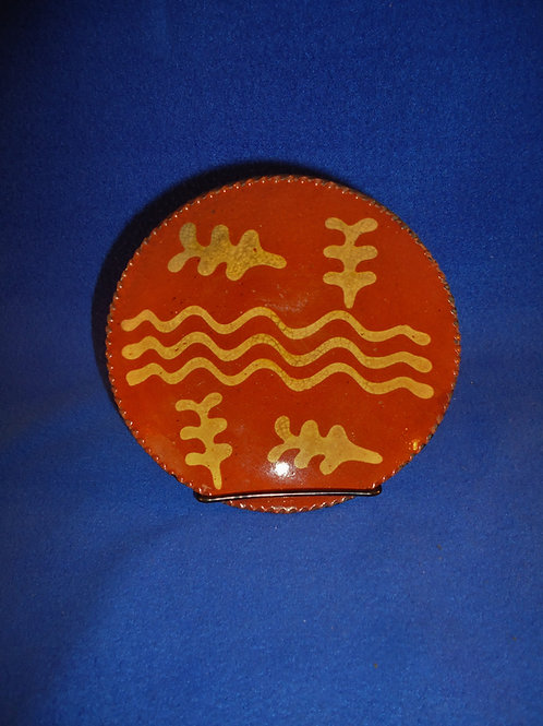 19th Century Redware Plate with Wavy Lines and Oak Leaves #5361