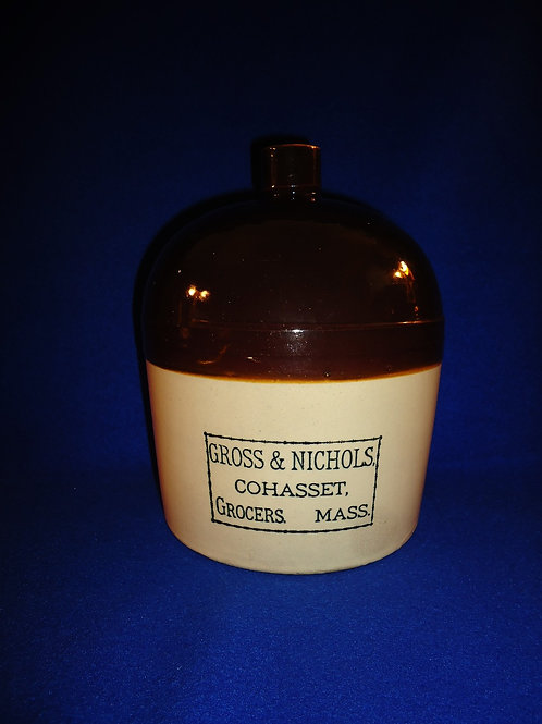 Gross and Nichols, Grocers, Cohasset, Massachusetts Stoneware 1 Gallon Jug