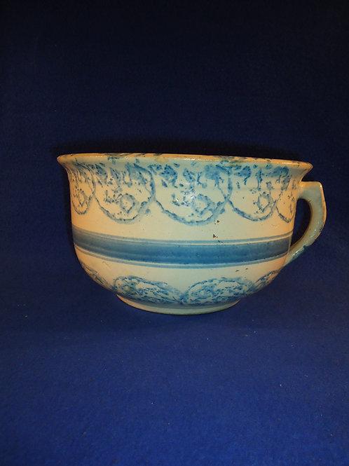 Blue and White Spongeware Stoneware Chamber Pot, Earthworm Pattern