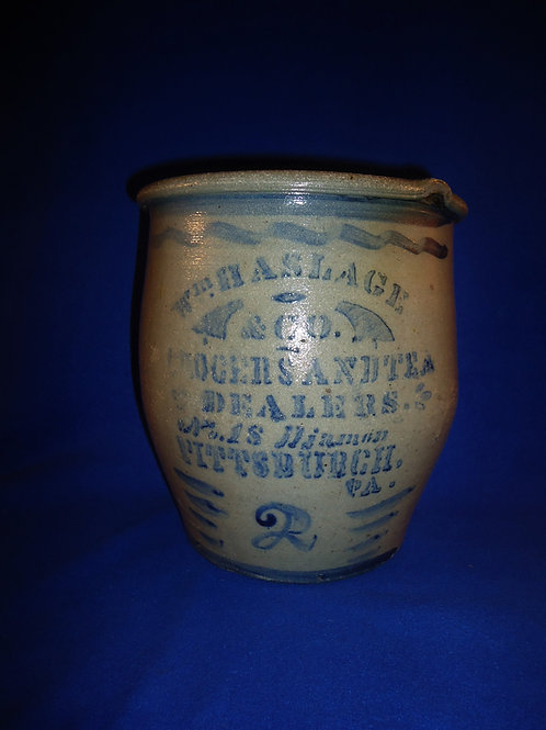 Haslage, Grocer and Tea Dealer, Pittsburgh, PA Stoneware 2 Gallon Cream Pot