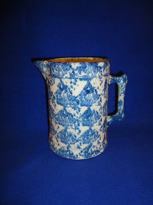"""Exceptional Blue and White Stoneware Spongeware Pitcher 6 3/4"""" #5265"""