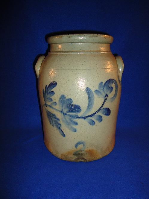 Circa 1870 Stoneware 2 Gallon Preserve Jar with Fuchsia, att. Beaver, PA