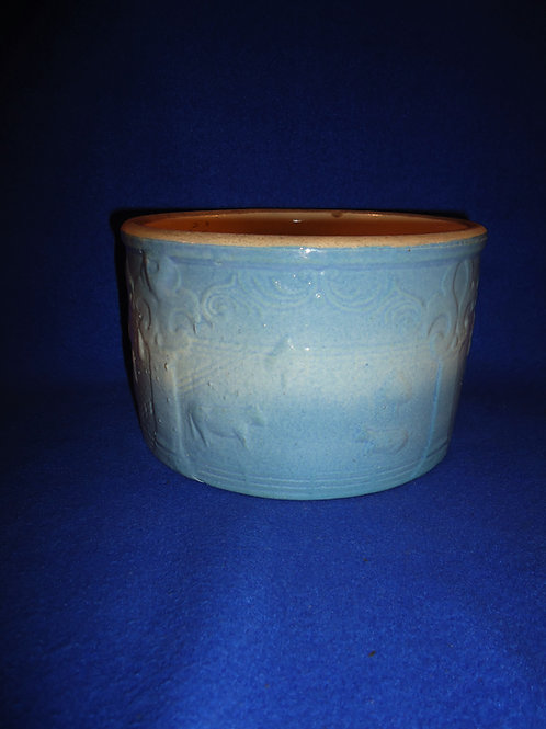 Blue and White Stoneware Harvest Butter Crock, #4917