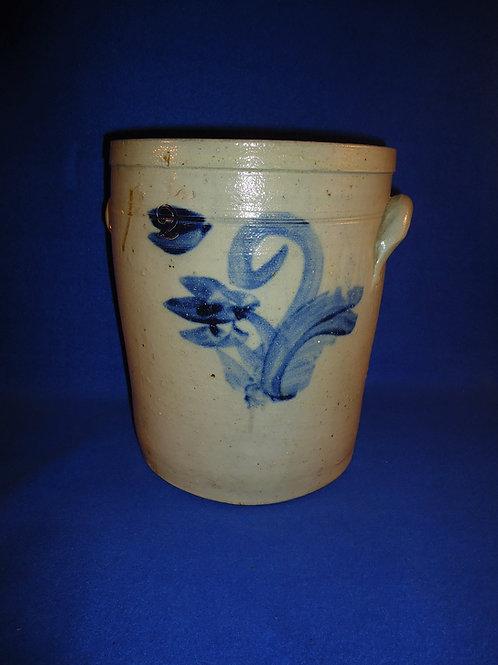 Circa 1860 2 Gallon Stoneware Crock with Tulip from NE Ohio #5260