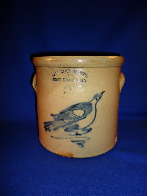 Ottman, Fort Edward, New York Stoneware 2 Gallon Crock with Bird on a Branch