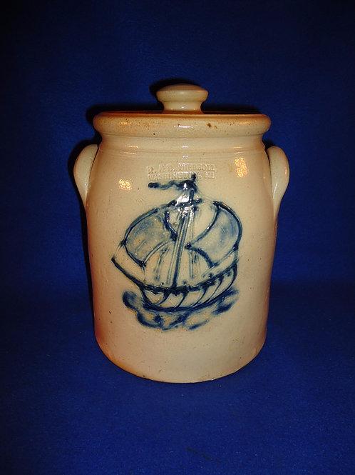 R. & B. Diebboll, Washington, Michigan Stoneware 1g Jar, Sailing Ship