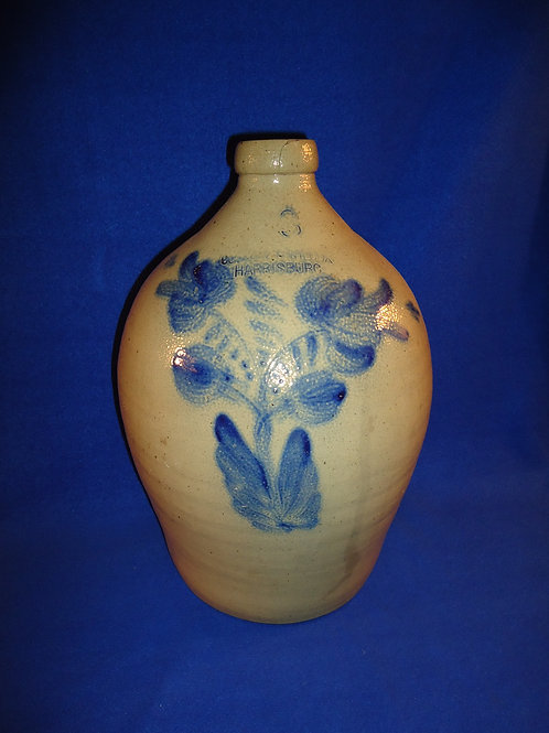 Cowden & Wilcox, Harrisburg, Pennsylvania Stoneware 3g. Jug with Flowering Plant