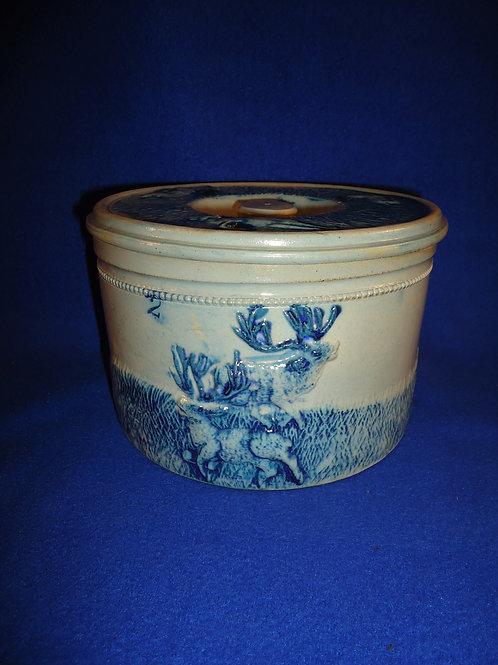 Whites Pottery of Utica, N.Y. Stoneware Deer Hunt Butter Crock, #4865