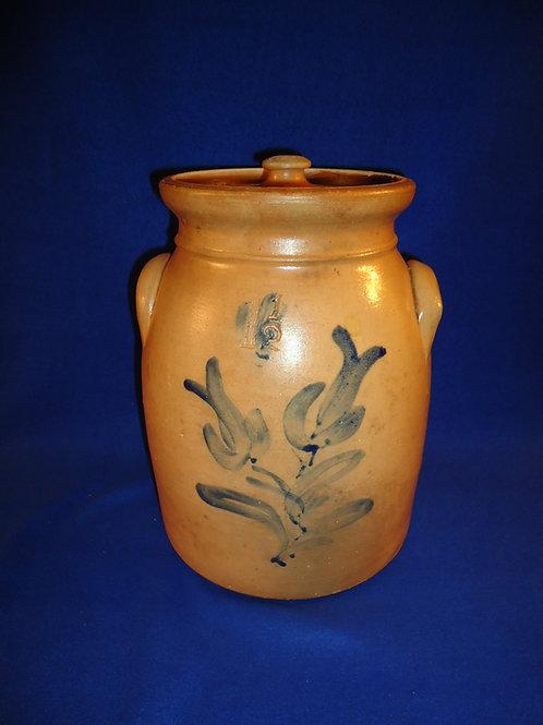 1 1/2 Gallon Lidded Stoneware Preserve Jar, Tulips, att. MacQuoid of Manhattan