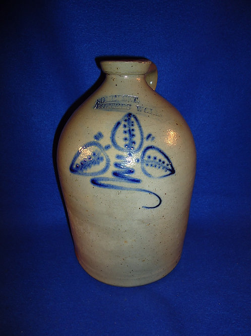 Somerset Potters Works, Somerset, Massachusetts Stoneware 1g Jug with Leaves