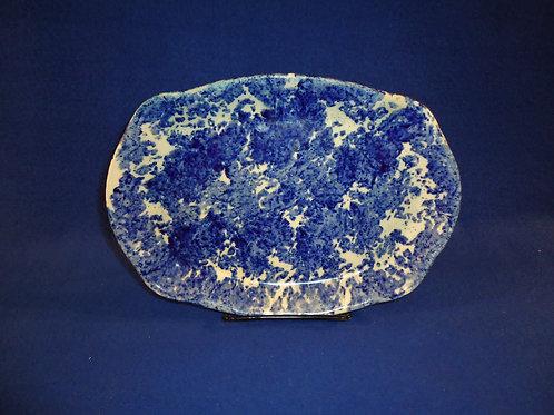 """Late 19th Century Blue and White Spongeware Stoneware 9 1/2"""" Platter"""