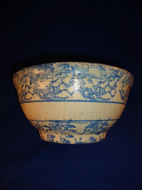"Circa 1900 Blue and White Stoneware Spongeware 9"" Striped Bowl"