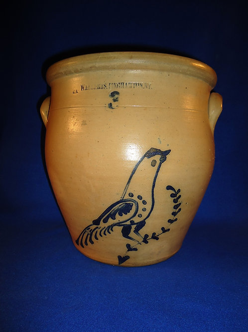 W. Roberts, Binghamton, New York Stoneware 3 Gallon Ovoid Jar with Bird
