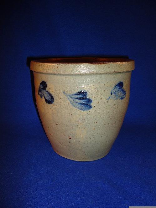 Circa 1870 Stoneware 1 Gallon Cream Pot with Clovers from Baltimore, Maryland