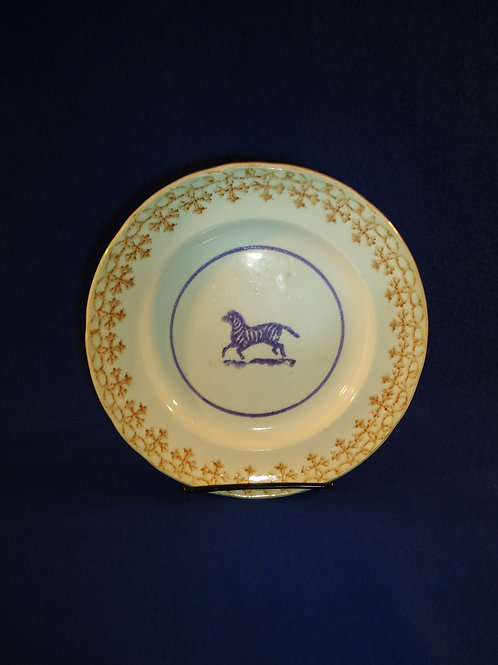 "19th Century Cut Spongeware Child's Plate with Zebra, marked ""Scott"""