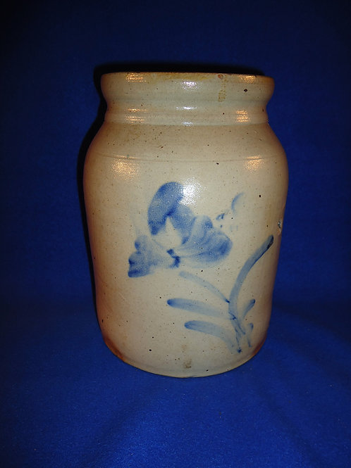 Stoneware Preserve Jar with Tulip, att Smith & Day of Norwalk, Connecticut #5345